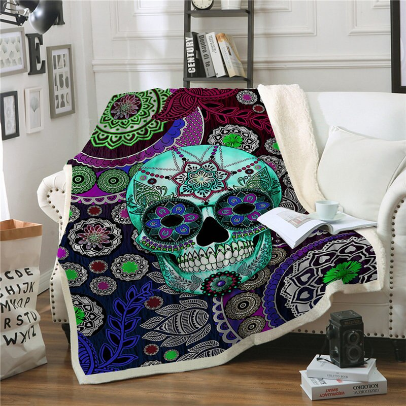 Gothic Throw Blanket Sugar Skull Flower Sherpa Fleece Super Soft Warm