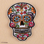 Big Size Skull Flower Bohemia Iron On Embroidered Clothes Patches For Clothing Girl Woman