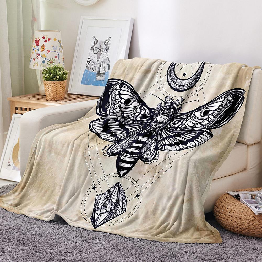 3D Skull Moth Blanket Warm Soft Plush Blanket Throw