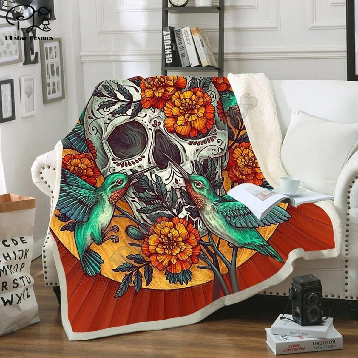 Skull And Flower Blanket 3D full printed Wearable Blanket