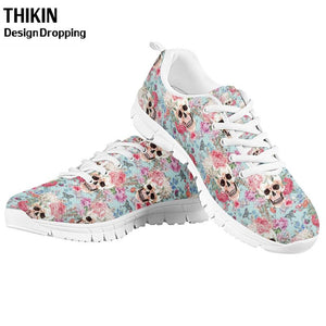 Stylish Skull Rose Floral Printing Women's Causal Shoes Woman