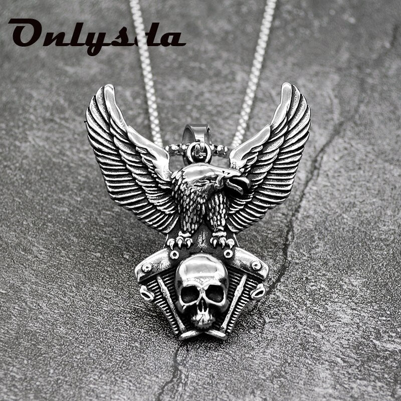 Vintage Stainless steel Skull eagle Pendant Necklace