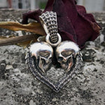 Unique Double Skull Heart Men Necklace Pendant Fashion Unisex