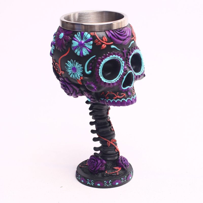 Color skull wine cups and mugs resin stainless steel coffee mugs cool drinkware
