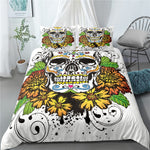 Sugar Skull Bedding Set Queen Size Flower Skull Bed Linen Double Duvet Cover
