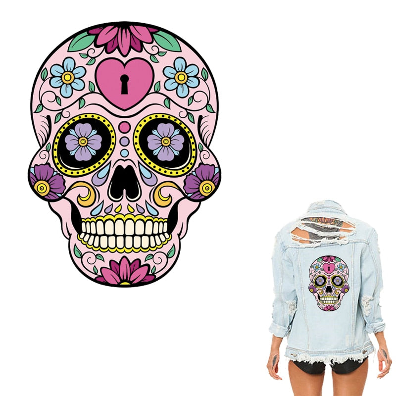 Sugar Skulls Stickers Skullcandy Patches Fashion Iron On Heat Transfer Stickers