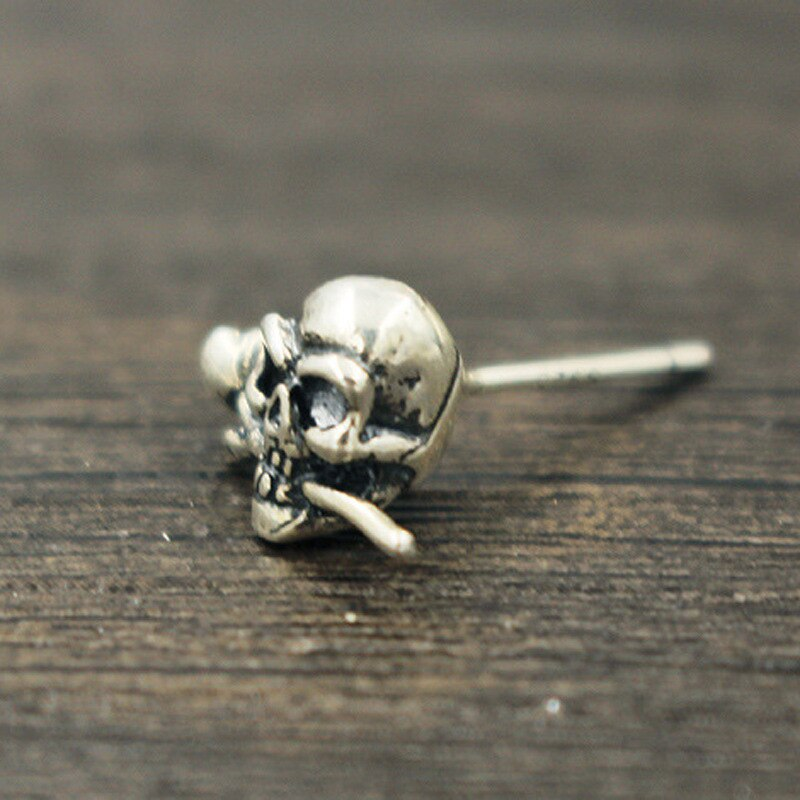 Real 925 Sterling Silver Skull Earrings With Rose in Mouth Gothic