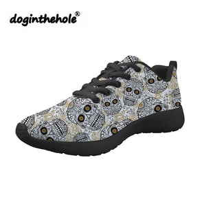Sugar Skull Printing Flat Sneakers for Women Lace-up Summer