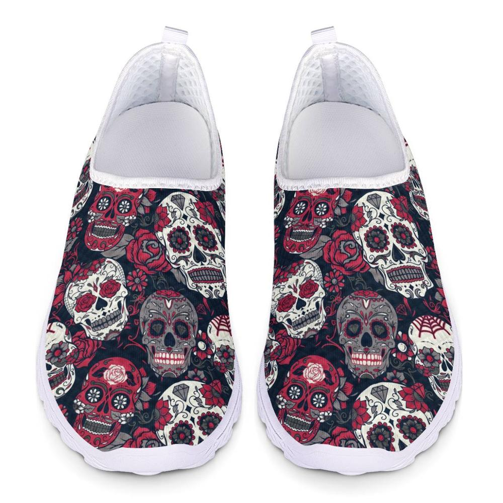 Breathable Sugar Skull Print Mesh Shoes Classic Ladies Flat Loafers Slip-on