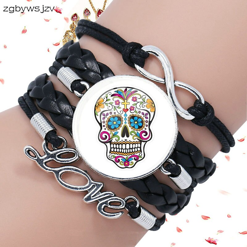 Mexico Sugar Skull Jewelry Glass Cabochon Black Leather Bracelet
