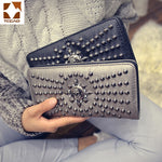 Women wallet Patchwork Rivet leather wallet women's clutch purse