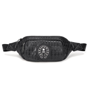 Retro Men Skull Chest Pack Waist Bag