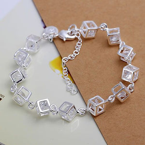 925 silver bracelet, 925 silver fashion jewelry White Gem Bracelet