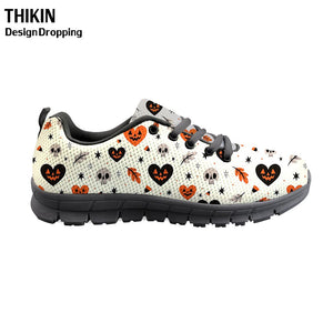2019 Fashion Black Halloween Printing Women Lace Up Flats Shoes Breathable Mesh Walking Sneakers