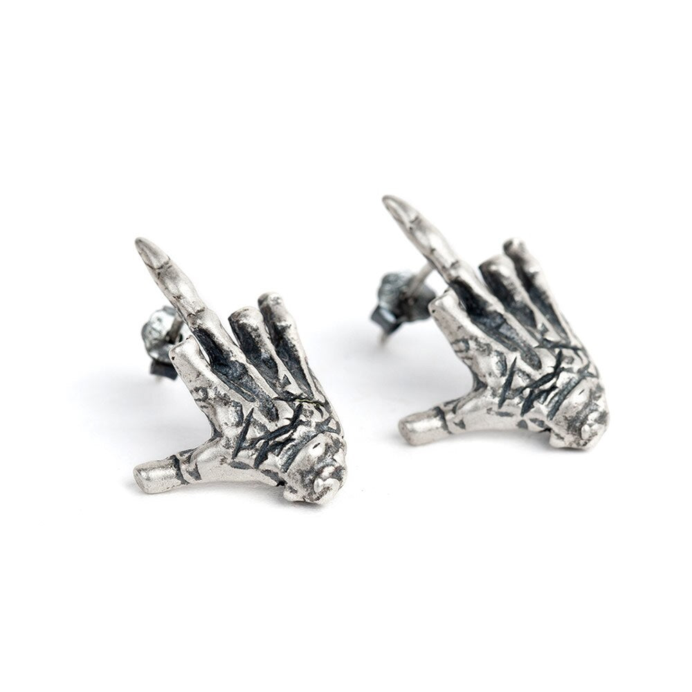 S925 sterling silver men and women earrings creative personality hand
