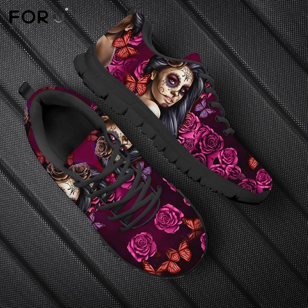 Sugar Skull Red Rose Floral Pattern Shoes Women Casual Spring/Autumn Sneakers