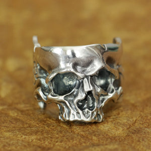 925 Sterling Silver Head Open Twisted Skull Ring Mens Biker Punk