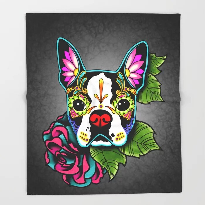 Sugar Skull Blanket Cool Design Boston Terrier in Black Fleece Blankets