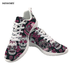 Classic Sugar Skulls Printed Flat Sneakers Gothic Casual Mesh Lace Sprot Women Shoes