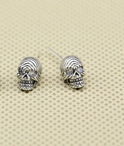 S925 pure silver fashion accessories Personality pop punk drilling skull head
