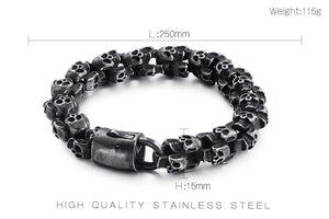 Gifts Vintage jewelry black stainless steel skeleton Skull Link Chain
