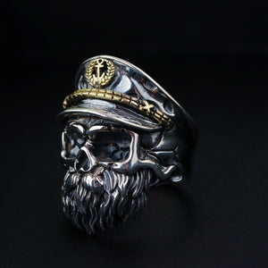 Personalitized Real 925 Sterling Silver Skull Ring Men Adjustable Pirate Captain Vintage