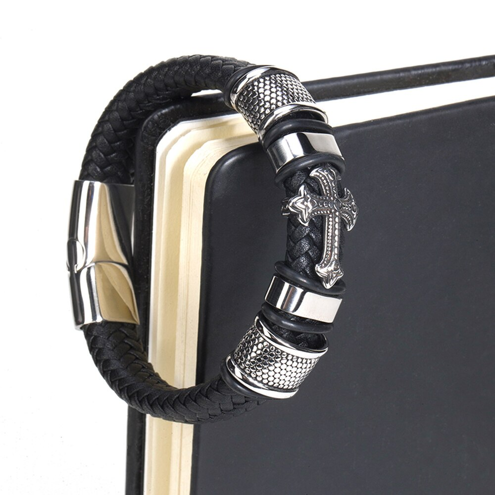 Fashion Punk Genuine Leather Man Cross Bracelet High Quality