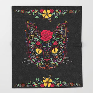 Sugar Skull Blanket Cool Design Kitty Cat Sugar Skull Fleece Blankets and Throw Blanket