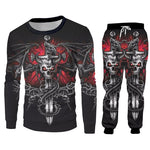 Men's Sets Hot Cool Cross Skull 3D Print Hoodies And Jogging Pants Set