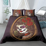 Sugar Skull Girl Bedding Set Duvet Cover Pillowcase Set Skull Comforter Cover