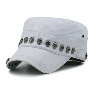 Men Baseball Cap Flat Hats Skull Rivet Flat Top Hat Men's Hats Hip Hop High Street
