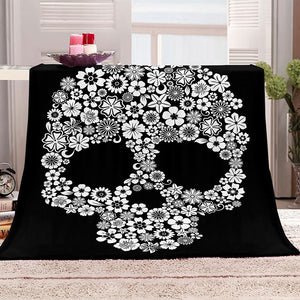 Flower Skull Blanket Cozy Plush Halloween Decor Throw Blanket