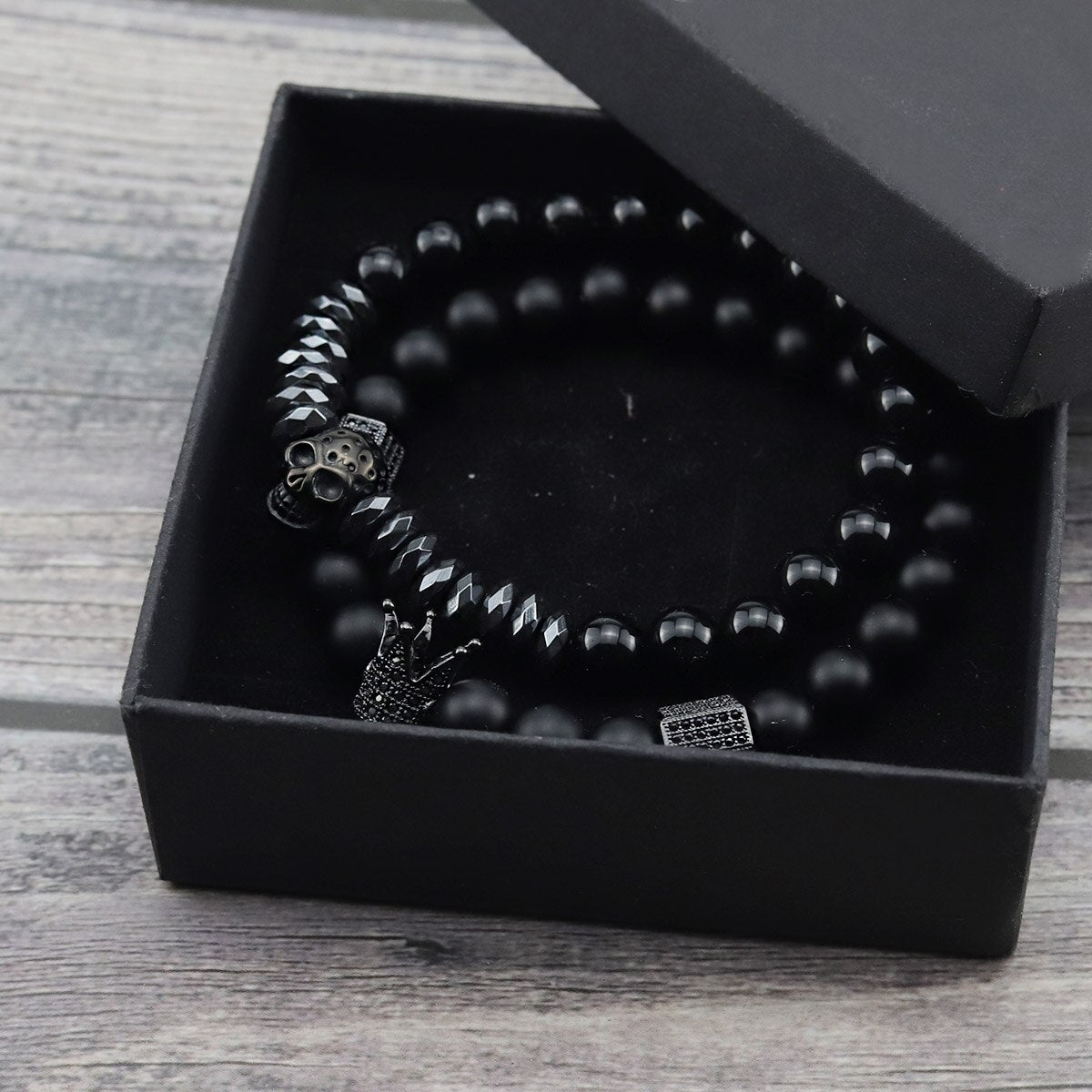 2pcs/Set Natural stone beads Bracelet Luxury CZ Crown Stainless Steel