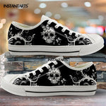 Hot Black Skull Printing Canvas Shoes Low Top Brand
