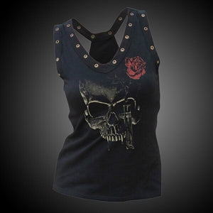 Women Sexy Vest Gothic Street Casual Vest Skull Print Sexy Top Top