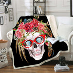flower skull 3D Bedding Outlet good quality Blanket Sherpa Blanket