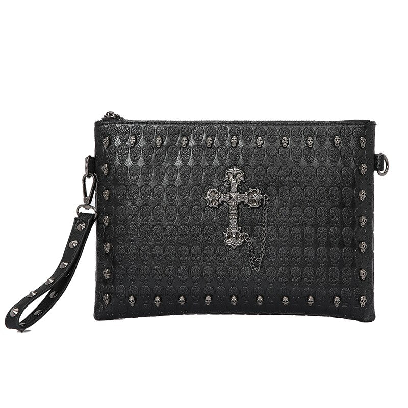 Korean version handbag with skull IPAD clutch bag
