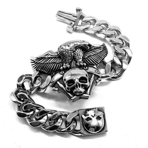 Eagle Skull Head Bracelets For Men Stainless Steel Charm Link Chain