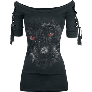 Black Skull Halloween Gothic Lace Up Criss Cross Blackless