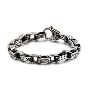 Vintage Skull Engraved Cuff Bracelet Men Link Chain Stainless Steel