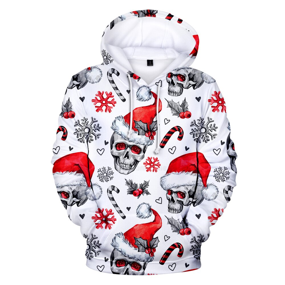 Full Printed 3D Christmas Hoodies Skull Sweatshirts Christmas Hoodies