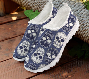Breathable Ladies Mesh Flat Shoes Brand Design Sugar Skull
