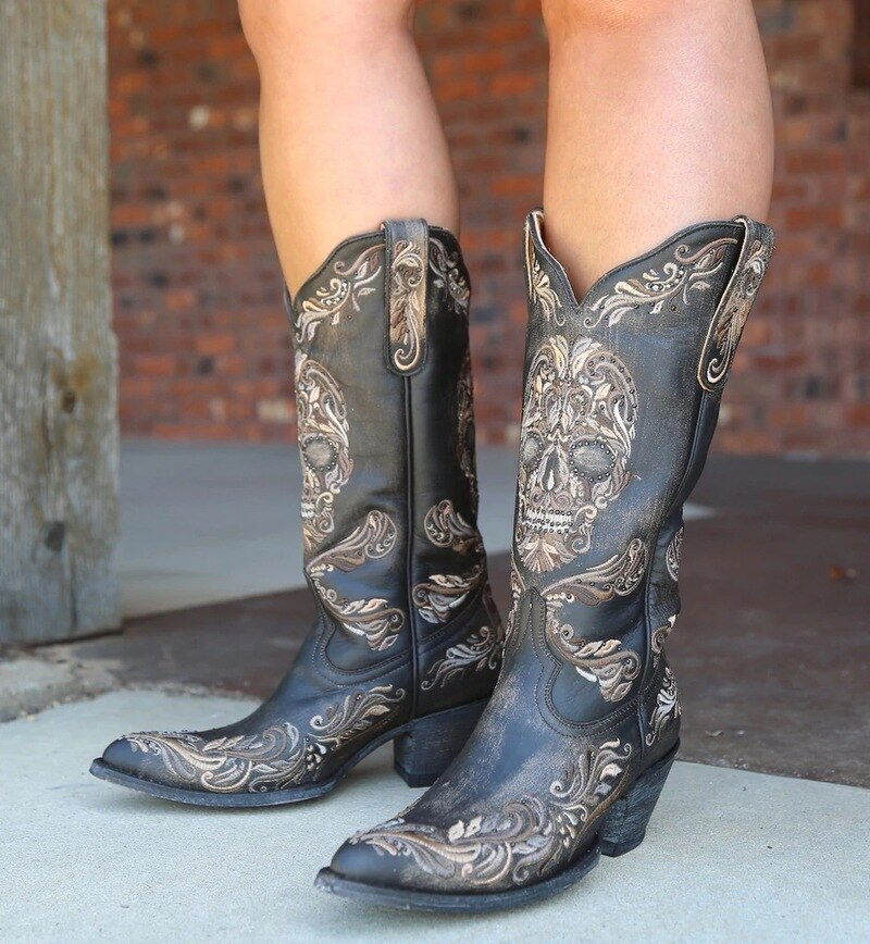 Women boots skull shoes woman autumn vintage embroidery shoe