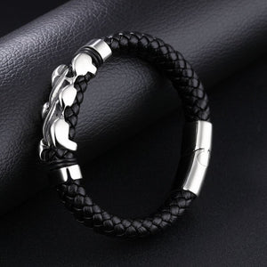 Fashion 2019 NEW Men Jewelry Black Leather Bracelet Stainless Steel
