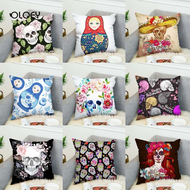 Sugar Skull Cover Polyester Cushion Cover Home Bedroom Hotel Car Decoration
