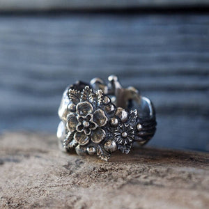 Gothic Mexican Flower Sugar Skull Rings Women Stainless Steel Punk Flowers Ring Jewelry