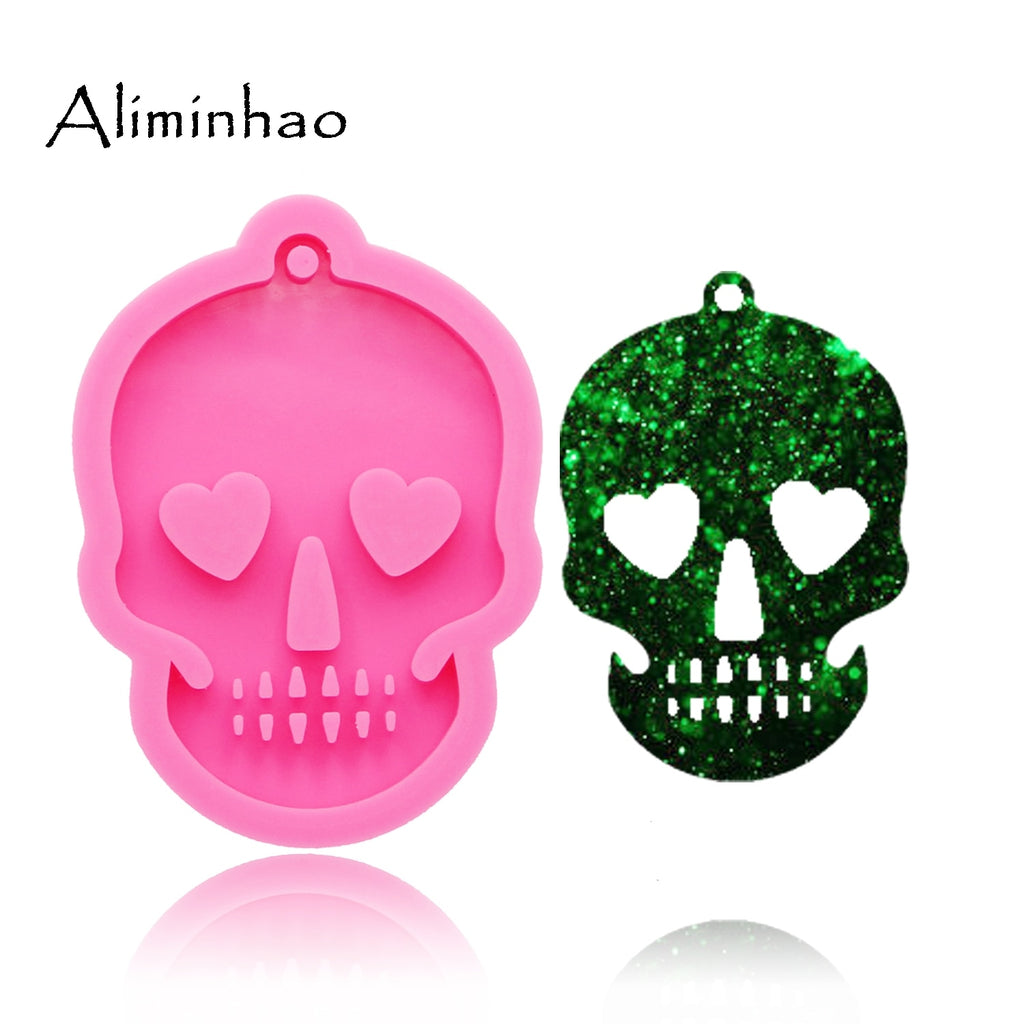 Shiny Ghost head skull silicone Keychains mold Key chain Pendant clay DIY Jewelry Making epoxy Resin mold