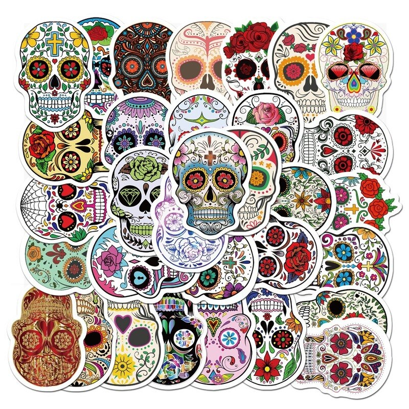 50PCS/Package Mexican Calaver Sugar Skull Car Sticker