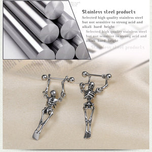 1Pcs Fashion Stainless Steel Bone Stud Earrings
