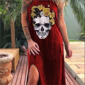 Summer Women Dresses 2020 Punk Flower Skull